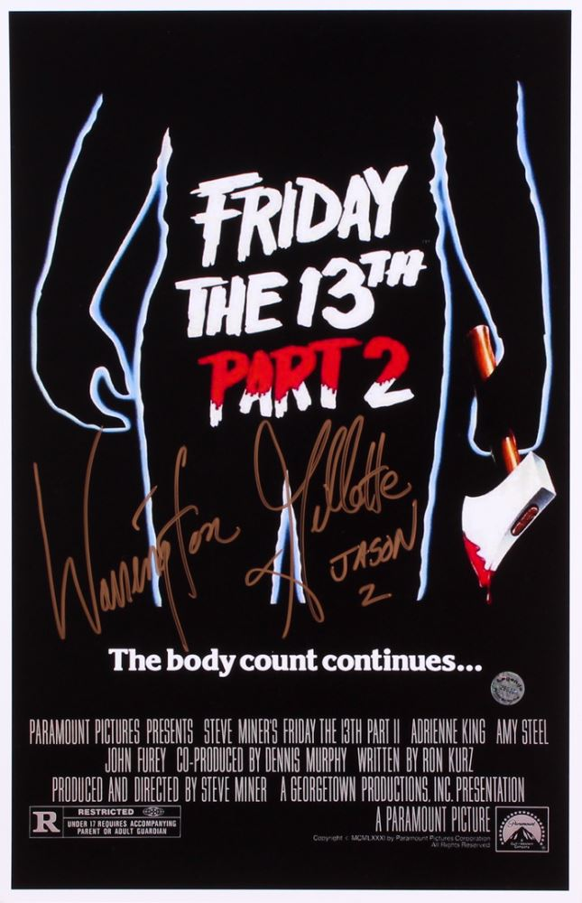 warrington gillette signed friday the 13th part 2 11x17 movie