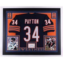 Walter Payton Signed Bears 35x43 Custom Framed Display with Jersey  Signed Index Card (Payton Hologr