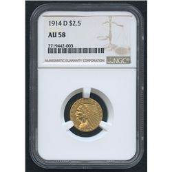 1914-D $2.50 Indian Head Quarter Eagle Gold Coin (NGC AU 58)