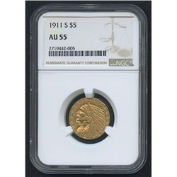 1911-S $5 Indian Head Half Eagle Gold Coin (NGC AU 55)