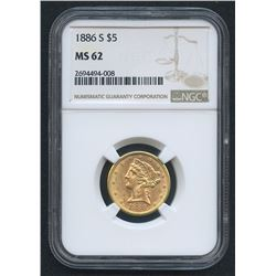 1886-S $5 Liberty Head Half Eagle Gold Coin (NGC MS 62)
