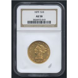 1879 $10 Liberty Head Eagle Gold Coin (NGC AU 58)