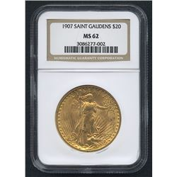 1907 $20 Saint-Gaudens Double Eagle Gold Coin (NGC MS 62)
