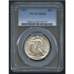 1917 50¢ Walking Liberty Silver Half Dollar (PCGS MS 62)