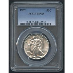 1937 50¢ Walking Liberty Silver Half Dollar (PCGS MS 65)
