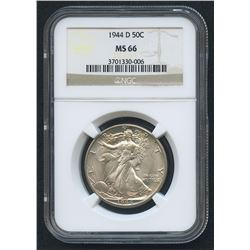 1944-D 50¢ Walking Liberty Silver Half Dollar (NGC MS 66)