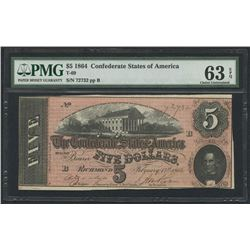 1864 $5 Five Dollars Confederate States of America Richmond CSA Bank Note Bill (T-69) (PMG 63)(EPQ)