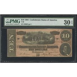 1864 $10 Ten Dollars Confederate States of America Richmond CSA Bank Note Bill (T-68) (PMG 30)(EPQ)
