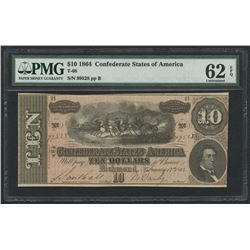 1864 $10 Ten Dollars Confederate States of America Richmond CSA Bank Note Bill (T-68) (PMG 62)(EPQ)