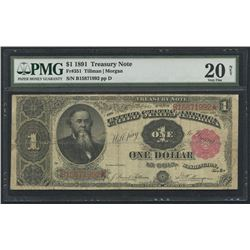 1891 $1 One Dollar U.S. Treasury Note Fr #351 (PMG 20)