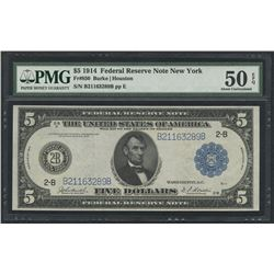 1914 $5 Five Dollars U.S. Blue Seal Federal Reserve Note (PMG 50)(EPQ)