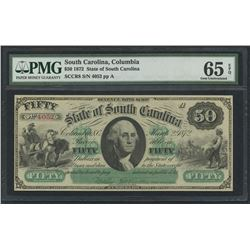 1872 $50 Fifty Dollars State of South Carolina Large Bank Note Bill (Slave Scene) (PMG 65)(EPQ)