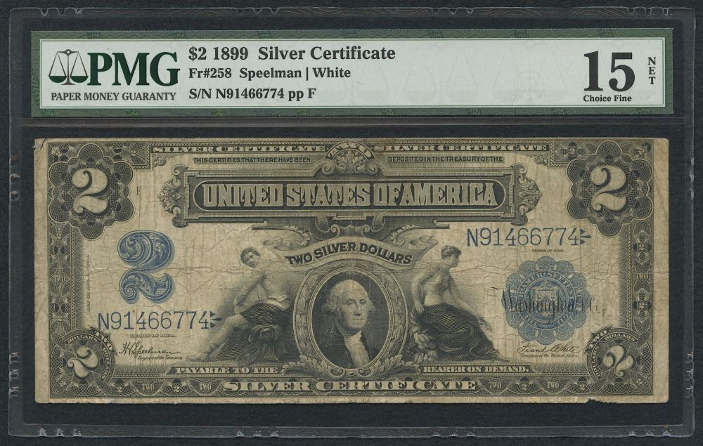 1899 2 Two Dollars Us Silver Certificate Blue Seal Large Size