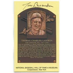 Tom Lasorda Signed Dodgers Gold Hall of Fame Postcard (PA COA)