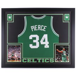 Paul Pierce Signed Celtics 35x43 Custom Framed Jersey (Beckett COA)
