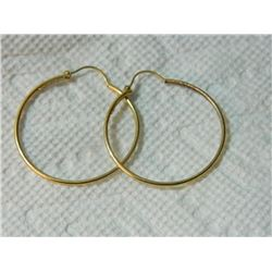 **** ESTATE FEATURE **** EARRINGS -10K YELLOW GOLD HOOP EARRINGS -  STAMPED 10 K UNO A ERRE (FINE IT