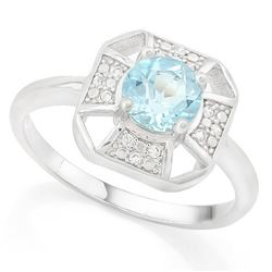 RING - 1/2 CARAT BABY SWISS BLUE TOPAZ & DIAMOND IN 925 STERLING SILVER SETTING - SZ 8 - RETAIL ESTI