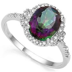 RING -  2.61 CARAT TW (3 PCS) MYSTIC GEMSTONE & GENUINE DIAMOND IN PLATINUM OVER 925 STERLING SILVER