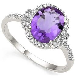 RING -  2.41 CARAT TW (3 PCS) AMETHYST & GENUINE DIAMOND IN PLATINUM OVER 0.925 STERLING SILVER SETT