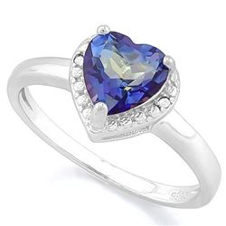 RING - 1 1/4 CARAT VIOLET MYSTIC GEMSTONE & DIAMOND IN 925 STERLING SILVER SETTING - SZ 8 - RETAIL E
