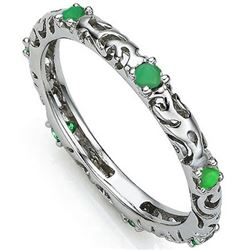 RING - 0.308 CARAT TW (7 PCS) GENUINE EMERALD IN PLATINUM OVER 0.925 STERLING SILVER SETTING - SZ 8
