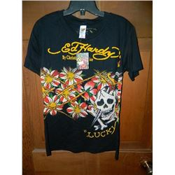 "T-SHIRT - DON ED HARDY - WITH COLORED JEMS ATTACHED - ""LUCKY"" SKULL WITH BAMBOO AND FLOWERS - ""ED HA"