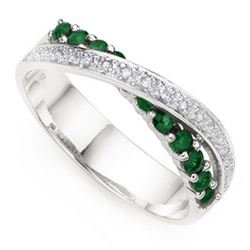 """**** FEATURE ITEM **** RING - 5 CARAT (11 PCS) GENUINE EMERALD & DIAMOND IN 925 STERLING SILVER SET"