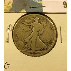 1917 Obverse D Walking Liberty Half Dollar, VG.
