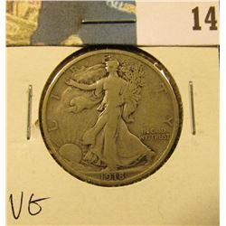 1918 D Walking Liberty Half Dollar, VG.