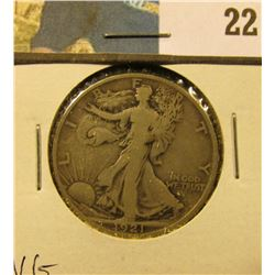 1921 D Walking Liberty Half Dollar, VG.