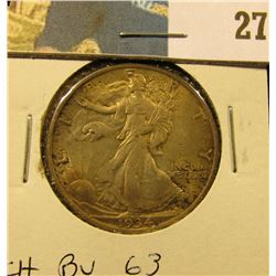 1934 P Walking Liberty Half Dollar, CH BU 63