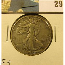 1938 D Walking Liberty Half Dollar, Fine+.