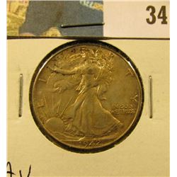 1942 P Walking Liberty Half Dollar, AU.