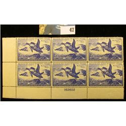 1952 RW19 Plateblock of 6 U.S. Federal Migratory Waterfowl Stamps, EF.
