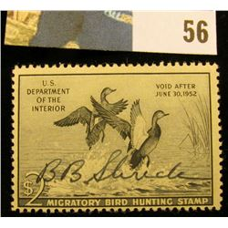 1951 RW18 U.S. Federal Migratory Waterfowl Stamps,Signed.