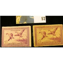 Pair of 1938 RW5 U.S. Federal Migratory Waterfowl Stamps,Both unsigned with no gum.
