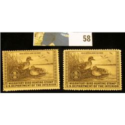 Pair of 1939 RW6 U.S. Federal Migratory Waterfowl Stamps,Both unsigned, OG, H, VF.