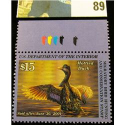2000 RW67 U.S. Federal Migratory Waterfowl Stamps, Unused, pane with ducks, OG, NH. VF.