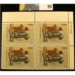 1983 RW50 Plateblock of 4 U.S. Federal Migratory Waterfowl Stamps, VF. Originally part of a Sam Hous