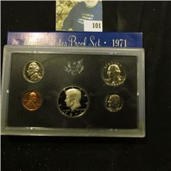 1971 S U.S. Proof Set with a Super Cameo Frosted Kennedy Half Dollar with mirror cameos.