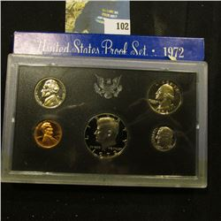 1972 S U.S. Proof Set with a slight Cameo Frosted Kennedy Half in this nice five-piece set.