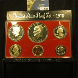 1976 S U.S. Proof Set with Type Two Eisenhower Proof Dollar. Cameo frosted Six-piece Set.