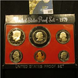 1979 S Type One U.S. Proof Set with Susan B. Anthony Proof Dollar. Deep mirror Cameo frosted Six-pie