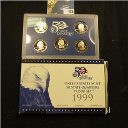 1999 S Five-Piece Statehood U.S. Quarter Proof Set. Original as issued. Five-piece Set.