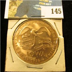 1976 Iowa American Revolution Bicetennial Bronze  Plow  Commemorative. Gem BU. 39mm.