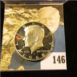 1968 S Deep Mirror Cameo Frosted U.S. Silver Half Dollar.