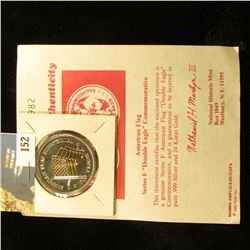 "American Flag Series F ""Double Eagle"" Commemorative with certificate of Authenticity. Layered in bot"