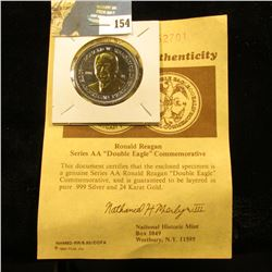 """Ronald Reagan Series AA   """"Double Eagle"""" Commemorative with certificate of Authenticity. Layered in"""