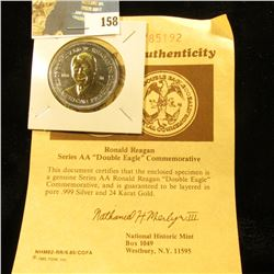 """1984 Ronald Reagan Series AA   """"Double Eagle"""" Commemorative with certificate of Authenticity. Layere"""