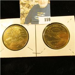 Pair of 39mm 1994 Ankeny, Iowa Aviation Expo Commemorative Brass medals depicting Boeing B-17 Flying